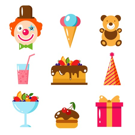 Happy Birthday set, vector flat illustration. Kids party and celebration design elements. Cake, gift, clown, toy, sweet, frut, food.