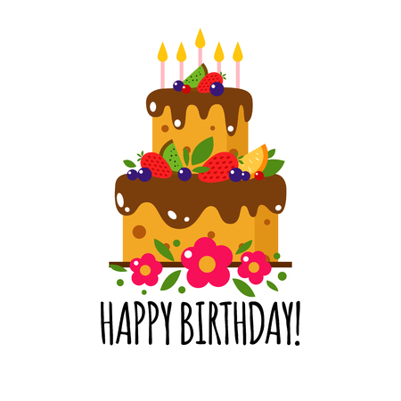 Vector color flat background with cake and flowers. Holiday icon cake. Happy birthday, party. Greeting birthday card. Sweets, cake, wedding, celebrate, dessert, chocolate, food, baking.