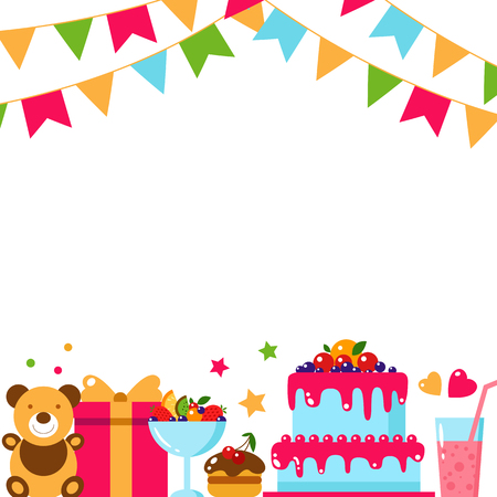 Happy Birthday template card. Flat vector illustration. Kids party and celebration design elements. Cake, gift, bear toy, sweet, fruit, flags garland, drink. Baby Birthday invitation. Illustration