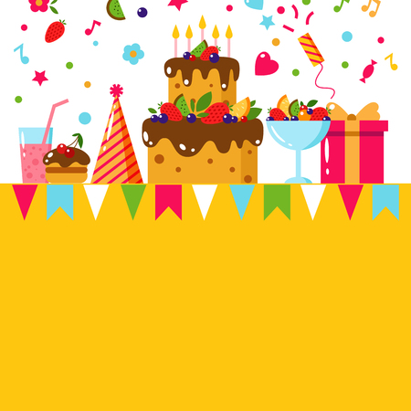 Happy Birthday template card. Flat vector illustration. Kids party and celebration design elements. Cake, gift, cap, ice cream, sweet, fruit, flags garland. Baby Birthday invitation.