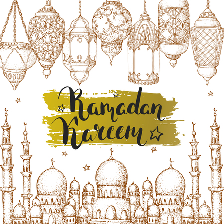Mosque and arabic lanterns. Ramadan Kareem. Islamic holiday vector background. Ink hand drawn inscription Ramadan Kareem. Typography. Brush lettering. Calligraphy. Handwritten. Golden brushstroke. Brown sketch. Card.