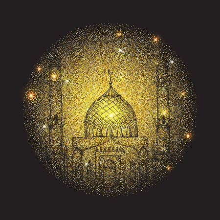 Ramadan Kareem. Islamic holiday vector shining background. Arabic golden frame. Golden mosque at night. Lights. Islamic holiday Ramadan.