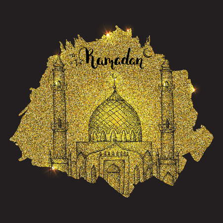 Islamic mosque. Ramadan Kareem. Hand drawn gold vector background. Greeting card. Glowing background with glitter. Shiny vector backdrop. Template design card. Inscription Ramadan Kareem.
