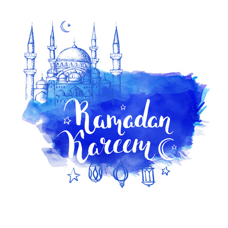 Mosque at night. Ramadan Kareem. Arabic lanterns. Vector blue watercolor background.  Ink hand drawn inscription Ramadan Kareem. Typography. Brush lettering. Calligraphy.