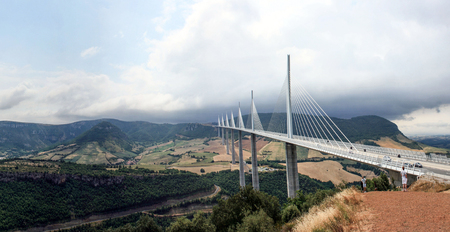 The Millau Viaduct, a cable stayed bridge that spans the valley of the River Tarn near Millau in southern France