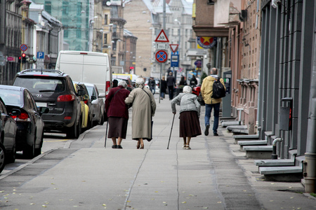 old womans aged grandmothers on the street latvia.