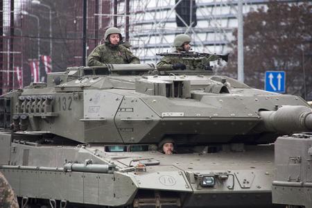 November 18, 2017. NATO tanks and soldiers at military parade in Riga, Latvia. Editorial