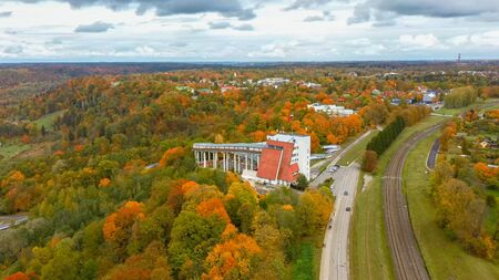 Autumn Landscape Aerial View of the Bobsleigh and Skeleton Track Luge Track Sigulda Surrounded by Colorful Forests During Golden Autumn Season in Latvia.