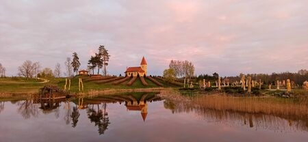 The Church of the Christ the King Hill Sculpture Park in the Aglona, Latvia a Beautiful Nature Park Made of Wooden Sculptures in Honor of God Jesus Christ