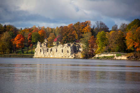 Autumn Landscape of Old Koknese Castle Ruins and River Daugava Located in Koknese Latvia. Medieval Castle Remains in Koknese.