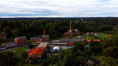 Old Ligatne Paper Mill Village From Above in Ligatne, Latvia. Old and Abandoned Paper Mill That is No Longer Working