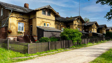 Old Wooden Houses Built for Paper Mill Workers in Ligatne. Wooden Row House