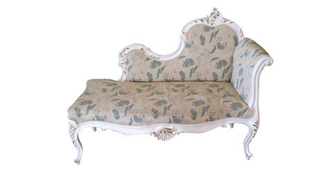 Vintage Wooden Classical Carved Sofa Upholstered in a Beautiful Cloth Isolated on White Background. Retro Style. Furniture for Refined Interior. Old, Palace Furniture.
