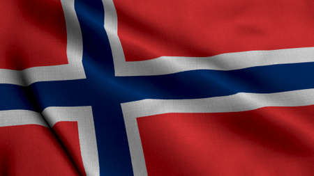 Norway Satin Flag. Waving Fabric Texture of the Flag of Norway, Real Texture Waving Flag of the Norges Standard-Bild