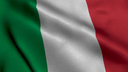 Italy Satin Flag. Waving Fabric Texture of the Flag of Italy, Real Texture Waving Flag of the Italy Standard-Bild