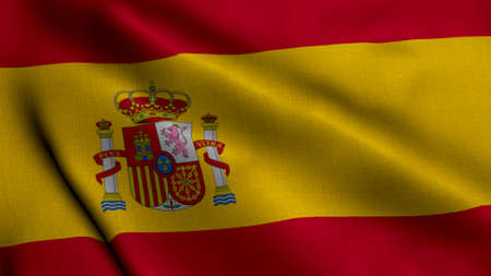 Spain Satin Flag. Waving Fabric Texture of the Flag of Spain, Real Texture Waving Flag of the Spain