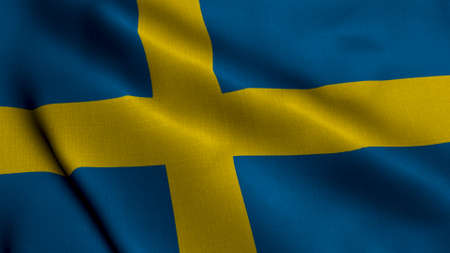 Sweden Satin Flag. Waving Fabric Texture of the Flag of Sweden, Real Texture Waving Flag of the Sweden