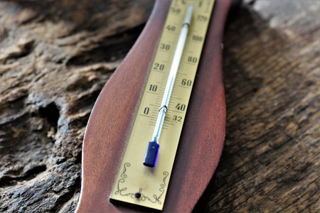 heatwave: An image of a thermometer Stock Photo