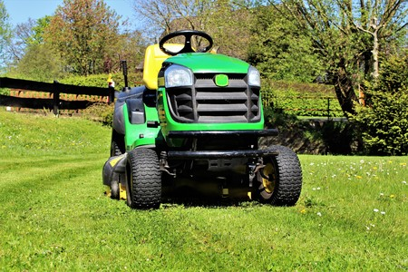 An image of lawn mowing Stock Photo