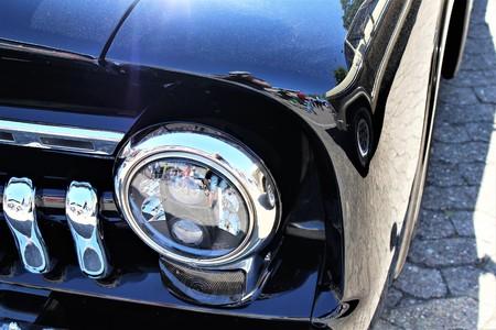 An Image of a Classic car headlight - muscle car - Kaunitz  Germany - 2017 May 27.