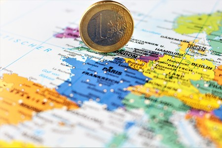 An image of a money on a map - euro Stock Photo