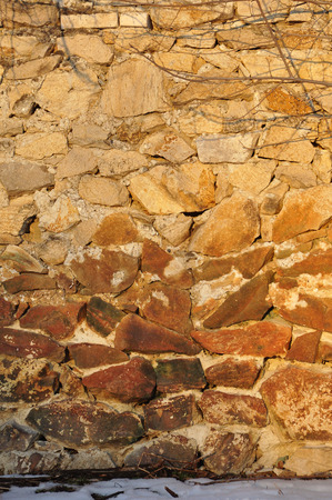 built: Old wall built of stones
