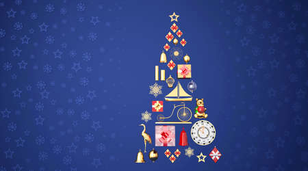 Christmas tree on blue background with stars and snowflakes