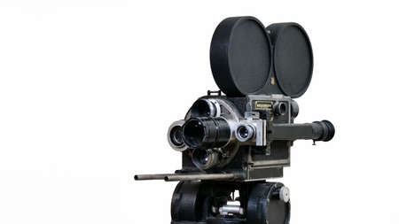 Vintage professional movie camera with four lenses