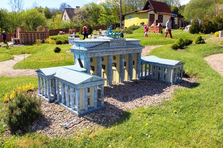 Strysza Buda (Mirachowo), Poland - May 03, 2014: Kaszubski Miniature Park. Scale model of the Brandenburger gate.