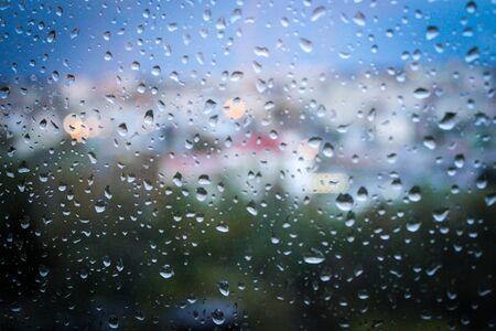 Raindrops on the window. Rainy weather