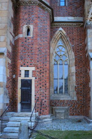 The Catholic Cathedral of St. John the Baptist in WrocÅ'aw, Poland. Gothic church with Neo-Gothic additions. Фото со стока