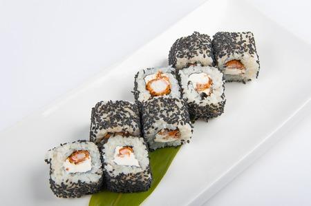 tekka: sushi roll with shrimp, Philadelphia cheese sesame seeds