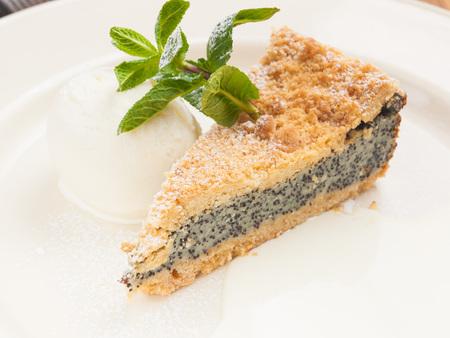 poppy seed cake with ice cream. concept: desserts