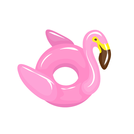 Pink flamingo pool float. Water pool and beach inflatable rubber toy. Vector element isolated on white. EPS 10 file format Illustration