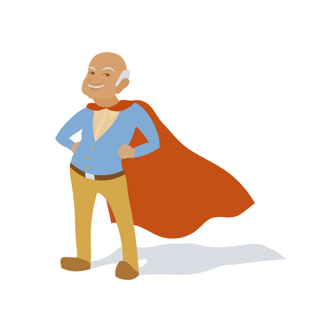 Confident old man grandfather as superhero character. Senior citizen in super hero cape. Vector flat cartoon