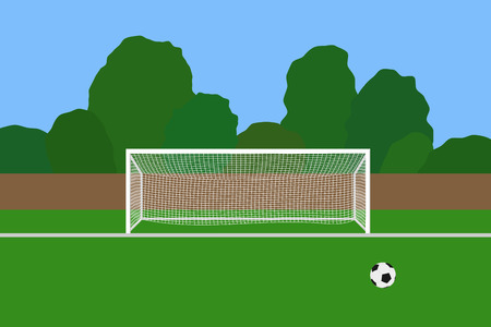 Soccer goal and ball on football stadium. Association football goal posts with net standing on a outdoor sports field. Soccer game equipment. Vector illustration in EPS 10 format