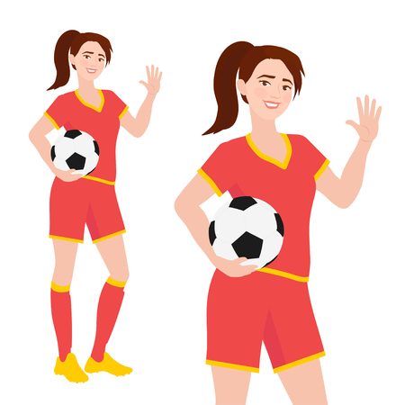 Young female associaton football player in sportswear standing and holding soccer ball. Friendly teenage girl in soccer uniform waving. Vector character illustraton isolated on white background
