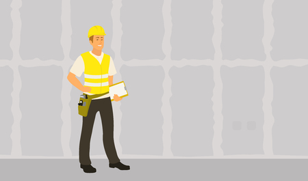 Home inspector man finished frame house building check and writing condition report. Male caucasian inspection professional full length vector flat character illustration on gypsum drywall background Illustration