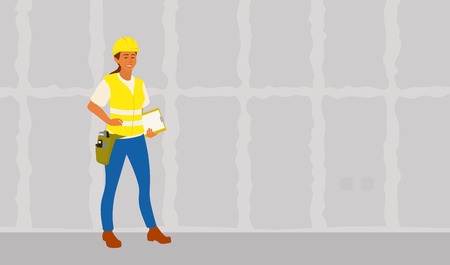 Home inspector woman standing with report ready for a frame house building examination. Female hispanic inspector full length vector flat character illustration on gypsum drywall background