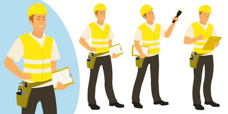 Bouwinspecteur man poseert voor infographics of advertenties