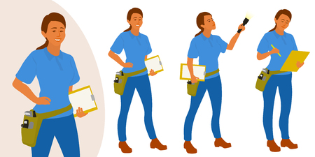 Home inspector woman poses set for infographics or advertisement Illustration