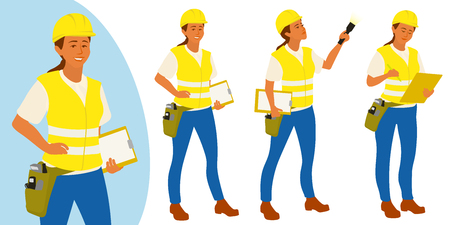 Building inspector woman poses set for infographics or advertisement Stock Photo