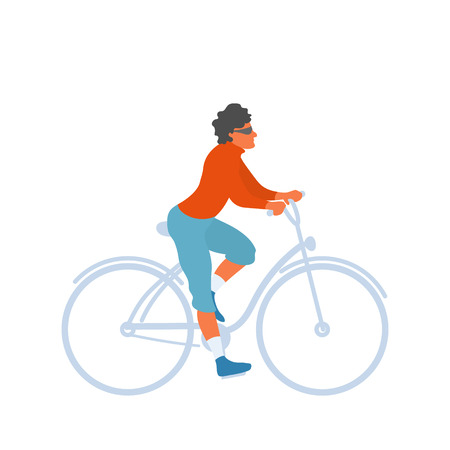 Man rides a bicycle. Male healthy person exersizing bicycling on a bike. Vector flat character in EPS 10 Illustration