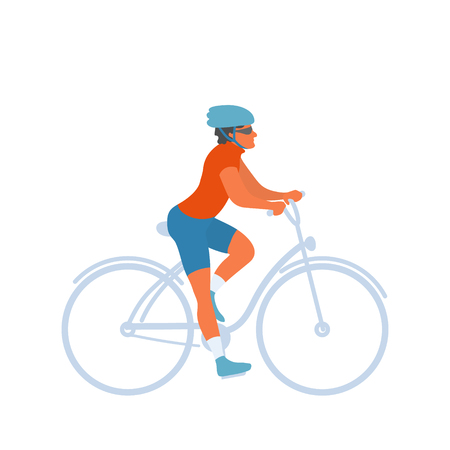 Cyclist riding bike with safety helmet on. Man on a bicycle ride in a park or in the wild. Healthy lifestyle hobby to keep fit. Vector flat character in EPS 10 Illustration