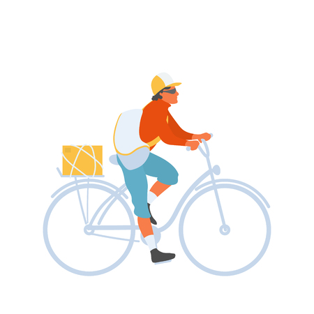 Bicycle courier man with bag riding bike to perform delivery. Courier delivers box with goods by bicycle. Vector flat character in EPS 10 Çizim