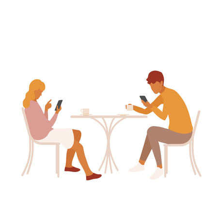 Young couple or friends distracted by their smartphones on a date. Girl and boy disconnected and paying no attention to each other. Boring date, lack of interest. Disconnection concept Illustration
