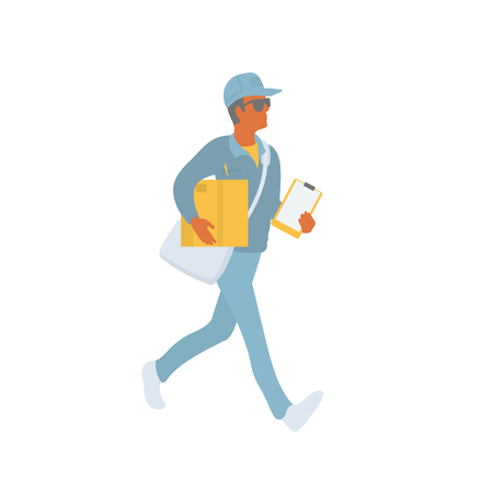 Delivery courier walking and carries shipment to make delivery. Delivery man in uniform holding a box and a clipboard. Vector flat character in EPS 10