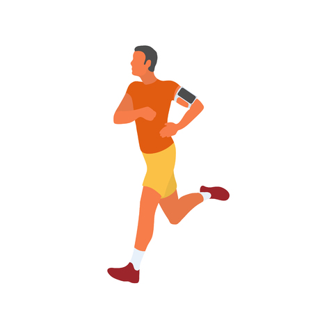 Man running outside with his smartphone attached to his arm. Fit runner exercising and collecting data in smartphone app. Vector flat character isolated on white background in EPS 10