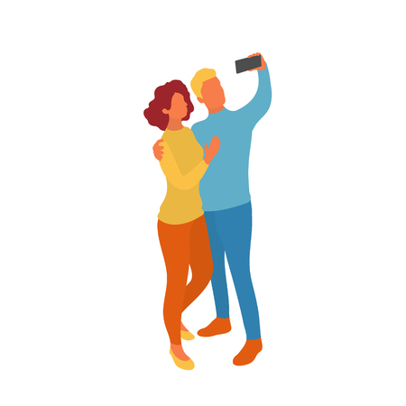 Couple, woman and man taking selfie together with smartphone camera. Vector flat characters isolated on white background in EPS 10 Illustration
