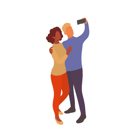 Mixed couple taking selfie together with smartphone. Interracial partners take photo with eath other on a walk or while traveling. Vector flat characters isolated on white background in EPS 10 Illustration